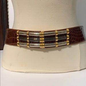 Vintage 80's Judith Leiber Alligator Brown Belt